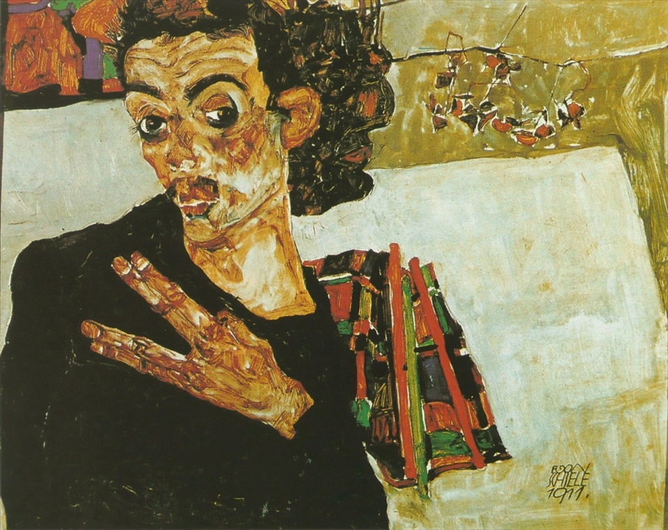 Self-portrait with black container